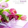 Pink tulips and gift box — Stock Photo #3222769