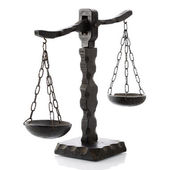 Justitia horizontal wooden — Stock Photo