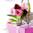 Pink tulips and gift box — Stock Photo #3860017