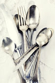 Vintage spoons, forks and knifes — Stock Photo