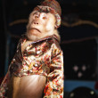 Circus chimpanzee monkey in suit and hat. — 图库照片 #3431868