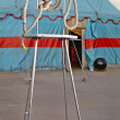 Stock Photo: Circus symbolism. wattled rope on metal stage personifying p