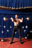 Portrait of one-eyed circus athlete. — Stock Photo