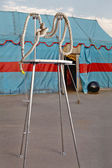 Circus symbolism. A wattled rope on a metal stage personifying p — Stock Photo