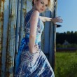 Stock Photo: Elegant lady in an сocktail dress against old rusty container