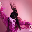 Dancing Woman On Pink Background — Stock Photo