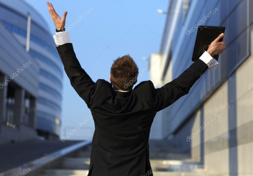 Freedom - Business man - arms outstretched — Stok fotoğraf #3551802