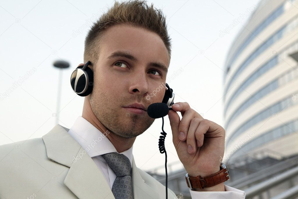 Security agent watching downtown area — Stock Photo #3882617