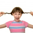 Happy girl with plaits — Stock Photo