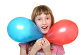 Girl with two colour balloons — Stock Photo