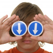 Boy holds before arrow eyes specifying — Stock Photo