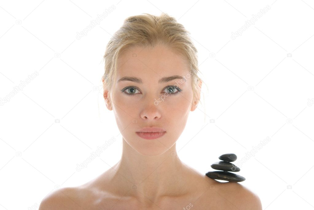 Young woman with dark stones on shoulder isolated in white  Stock Photo #3348288