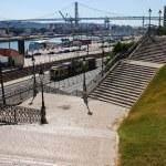 Cityscape view of April 25th bridge in Lisbon, Portugal — Stock Photo