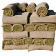 Rolls of sod isolated on white background — Stock Photo