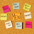 Stock Photo: Men concerns on cork board