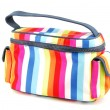 Colorful toiletry bag on white — Stock Photo