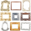 Collection of wooden and metallic frames on white — Stockfoto #3905395