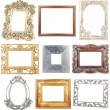 Foto Stock: Collection of wooden and metallic frames on white