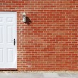 White door on a brick wall — Stock Photo