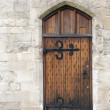 Wooden door from medieval era - Stock Photo
