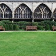 Gloucester Cathedral (garden view) - Stock Photo