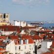 Lisbon cityscape with Se Cathedral - Stock Photo