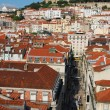 Lisbon cityscape with Sao Jorge Castle - Stockfoto