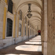 Commerce square arcades in Lisbon — 图库照片