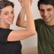 Sister and brother high five — Stock Photo