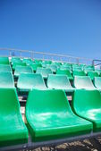 Stadium green bleachers — Stock Photo