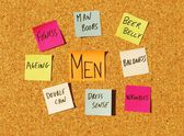 Men concerns on a cork board — Stock Photo