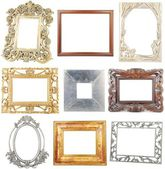 Collection of wooden and metallic frames on white — Stok fotoğraf