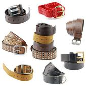 Collection of leather belts on white — Stock Photo