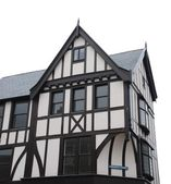 Black and white tudor house (isolated) — Stock Photo