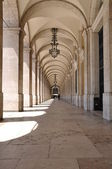 Commerce square arcades in Lisbon — Stock Photo