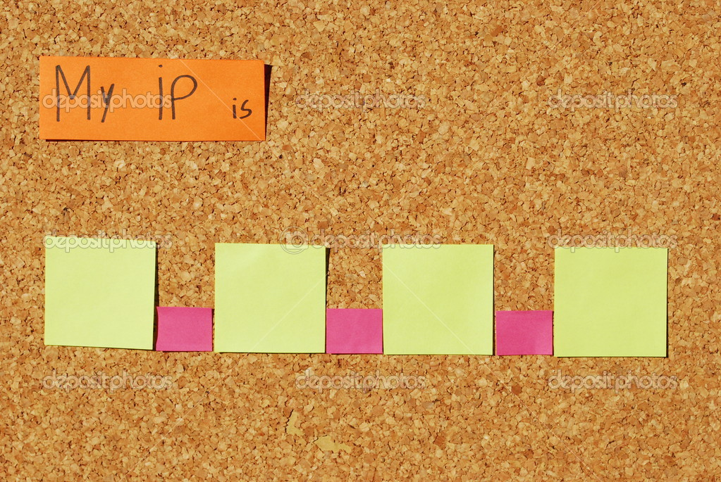 Concept of ip address to enter the Internet on a corkboard with color notes  Stock Photo #3904896