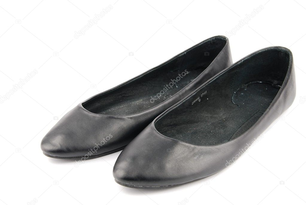Pair of lady leather ballet flat shoes isolated on white isolated background  Stock Photo #3905155