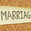 Marriage keyword on a cork board — Stock Photo