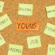 Young concerns on a cork board — Stock Photo