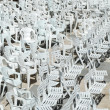 White plastic chairs background — Stock fotografie