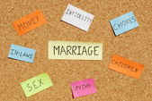 Marriage keywords on a colorful cork board — Photo