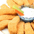 Golden chicken fingers and veggies — Stok fotoğraf