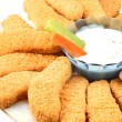 Stock Photo: Golden chicken fingers and veggies