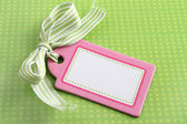 Blank pink tag on green — Stock Photo
