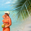 Tropical beach woman — Stock Photo