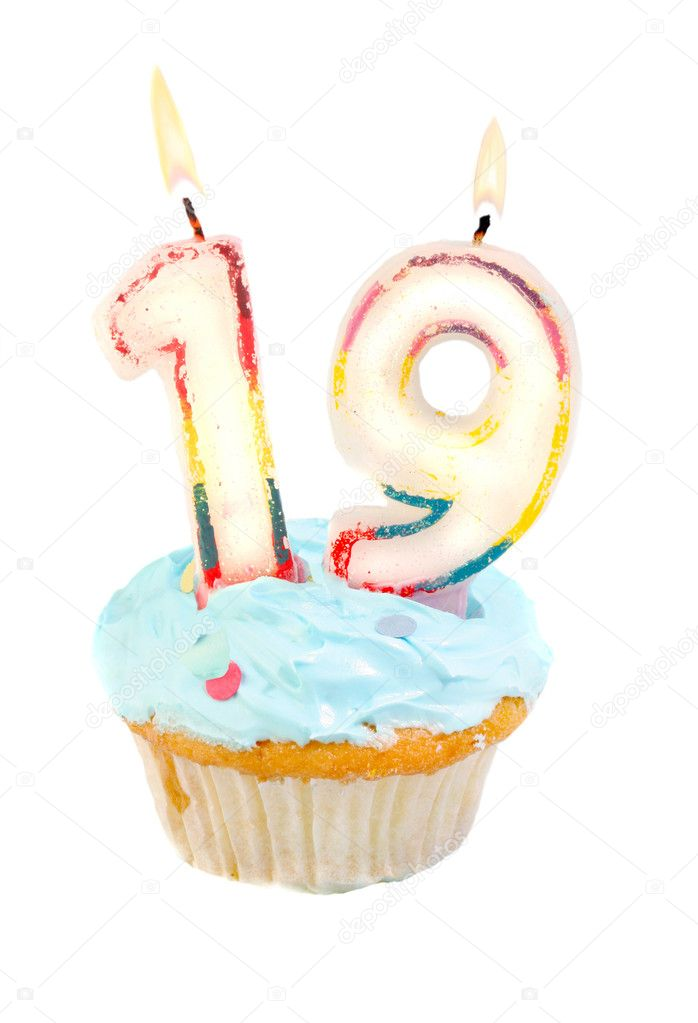 Nineteenth birthday cupcake with blue frosting on a white background — Stock Photo #3521317