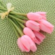 Pink decorative tulips on green - ストック写真