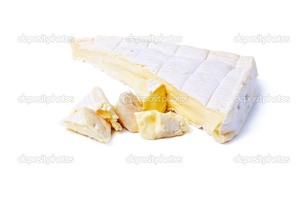 Wedge of Gourmet  Brie Cheese isolated on white — Stock Photo #2883394