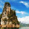 High cliffs on the tropical island - Stock Photo