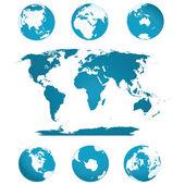 Globi e mappa del mondo — Vettoriale Stock